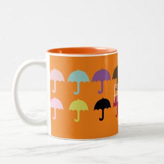 Umbrella Pattern Arrow Two-Tone Coffee Mug