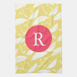Umbrella pattern Monogram Kitchen Towel