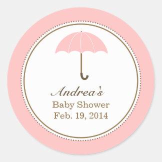 Umbrella Pink Round Sticker