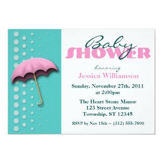 Umbrella Pink & Teal Baby Shower Invitations