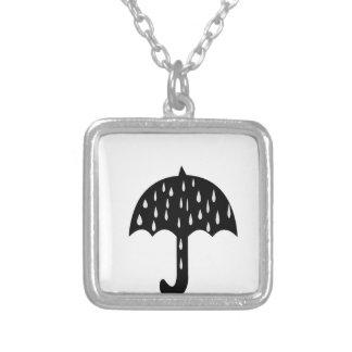 umbrella rain silver plated necklace