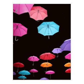 Umbrella rainy day sunshade parasol pattern postcard