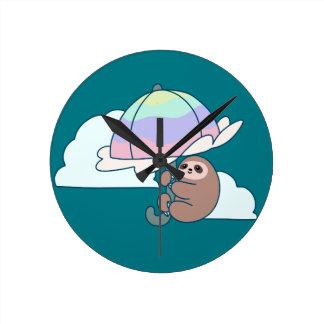 Umbrella Sloth Round Clock