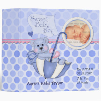 Umbrella Teddy Polka Dot Photo Album for Baby Boy Vinyl Binder