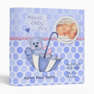 Umbrella Teddy Polka Dot Photo Album for Baby Boy Vinyl Binders