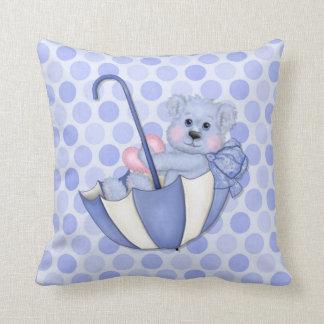 Umbrella Teddy Polka Dots Blue Keepsake Pillow