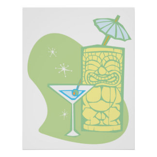 Umbrella Tiki and Martini Poster