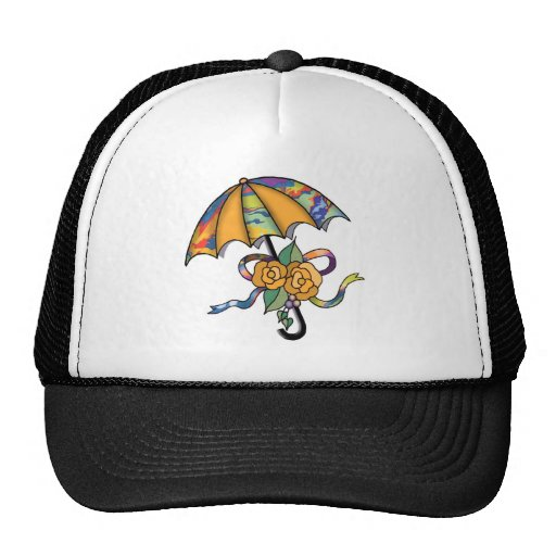 Umbrella with Roses 01 Mesh Hats
