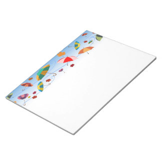 UMBRELLAS AND LEAVES PATTERN NOTEPAD