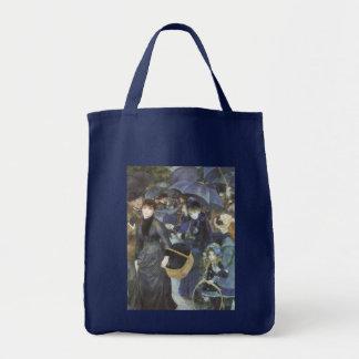 Umbrellas by Pierre Renoir, Vintage Impressionism Grocery Tote Bag