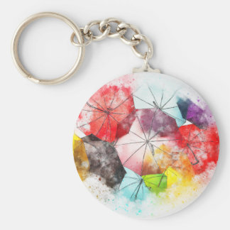 Umbrellas  Colorful Abstract Basic Round Button Keychain