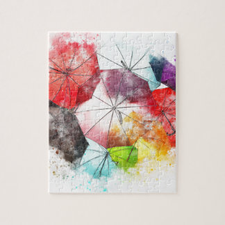 Umbrellas  Colorful Abstract Jigsaw Puzzle
