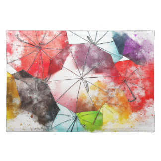 Umbrellas  Colorful Abstract Placemat