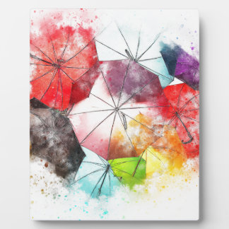 Umbrellas  Colorful Abstract Plaque