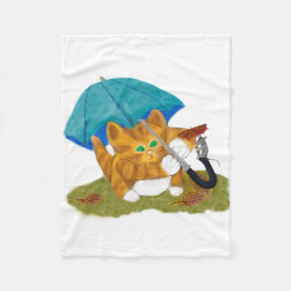 Umbrellas for Mouse and Kitty Fleece Blanket