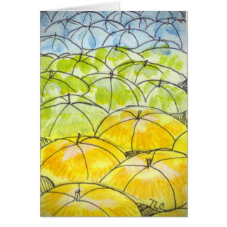 umbrellas in springtime card