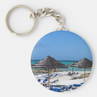Umbrellas in the Bahamas Basic Round Button Keychain