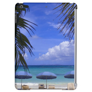 umbrellas on beach, St. Maarten, Caribbean iPad Air Cases