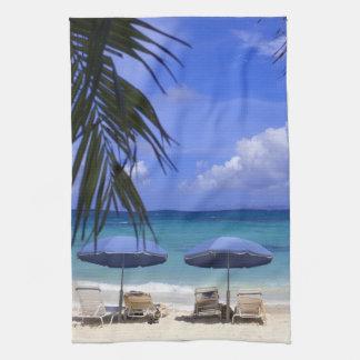 umbrellas on beach, St. Maarten, Caribbean Towel