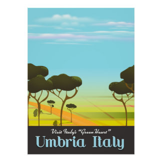 Umbria Italy travel poster