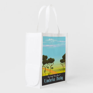 Umbria Italy travel poster Reusable Grocery Bag