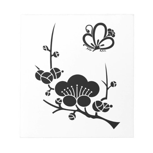 Ume branch and Butterfly-shaped ume blossom Notepad