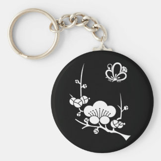 Ume branch & shadowed butterfly-shaped ume blossom keychain