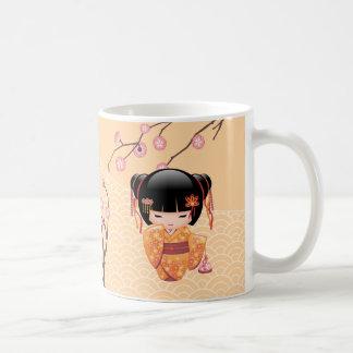 Ume Kokeshi Doll - Japanese Peach Geisha Girl Coffee Mug