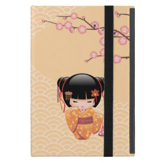 Ume Kokeshi Doll - Japanese Peach Geisha Girl Cover For iPad Mini