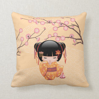 Ume Kokeshi Doll - Japanese Peach Geisha Girl Throw Pillow