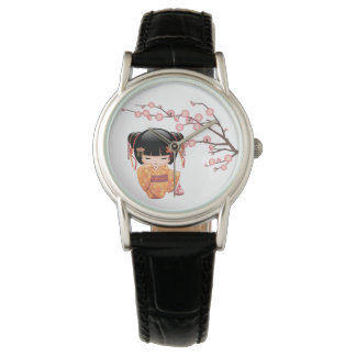 Ume Kokeshi Doll - Peach Kimono Geisha Girl Wrist Watch