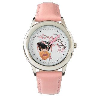 Ume Kokeshi Doll - Peach Kimono Geisha Girl Wristwatches