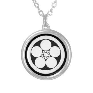 Umebachi-style plum blossom in circle silver plated necklace