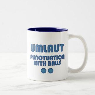 Umlaut Balls (Blue) Two-Tone Coffee Mug