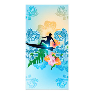 ummer sports, surf boarder with wave photo greeting card