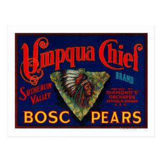 Umpqua Chief Pear Crate LabelSutherlin, OR Postcard