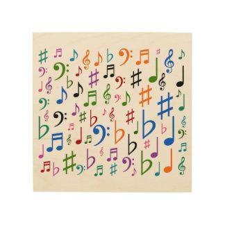 Un bon nombre de notes musicales et de symboles impressions sur bois