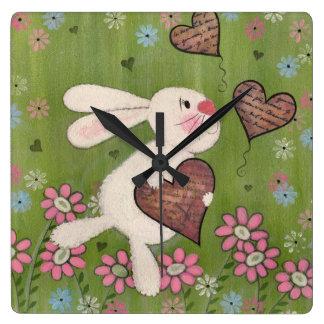 Un certain lapin vous aime - horloge murale d'enfa