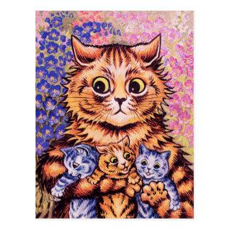 Un chat avec ses chatons par Louis Wain Cartes Postales