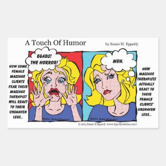 """""""Un contact jambes non rasées d'humour"""" comiques Sticker Rectangulaire"""