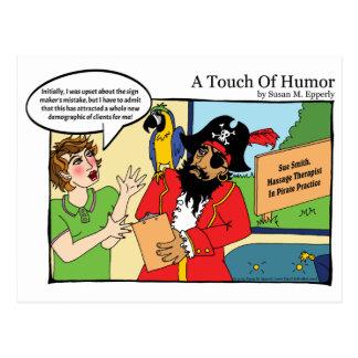 """""""Un contact massage de pirate d'humour"""" comique Carte Postale"""