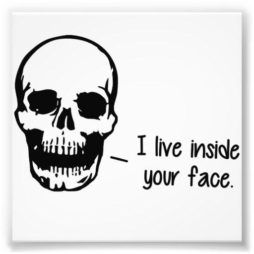 Un crâne vit à l'intérieur de votre visage photo sur toile
