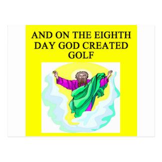 un dieu a créé le golf cartes postales