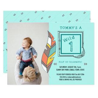 Un ęr anniversaire sauvage de plume tribale de carton d'invitation  12,7 cm x 17,78 cm