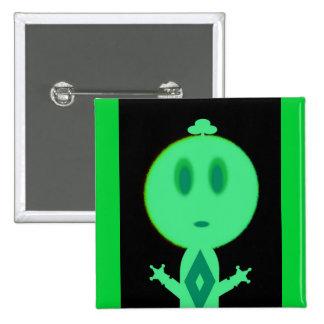 Un petit homme vert macaron carré 5 cm