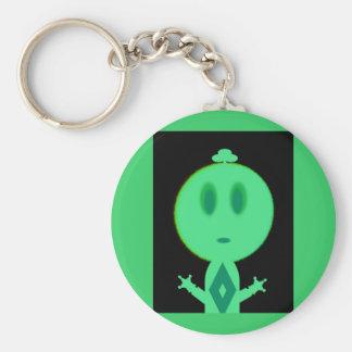 Un petit homme vert porte-clé rond