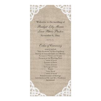 Un programme rustique de mariage de dentelle et de