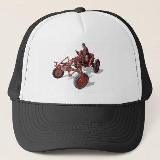 Un-restored Vintage Tractor Red Illustration Trucker Hat