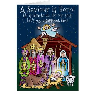 Un sauveur est né ! carte de vœux