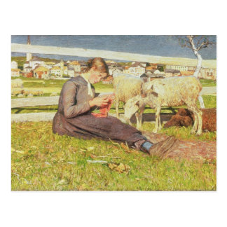 Un tricot de fille, 1888 (huile sur la toile) carte postale